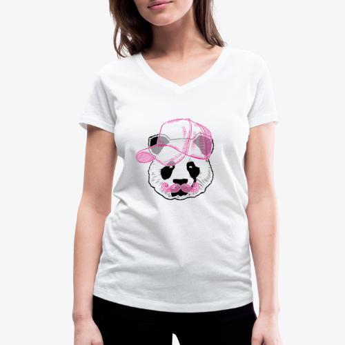 Panda - Pink - Cap - Mustache - Frauen Bio-T-Shirt mit V-Ausschnitt von Stanley & Stella