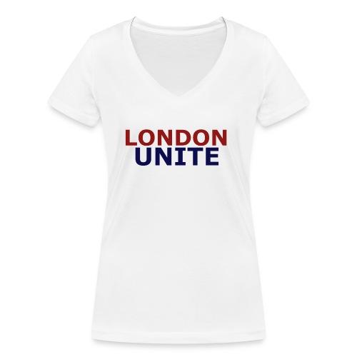 London Unite White T-Shirt - Women's Organic V-Neck T-Shirt by Stanley & Stella