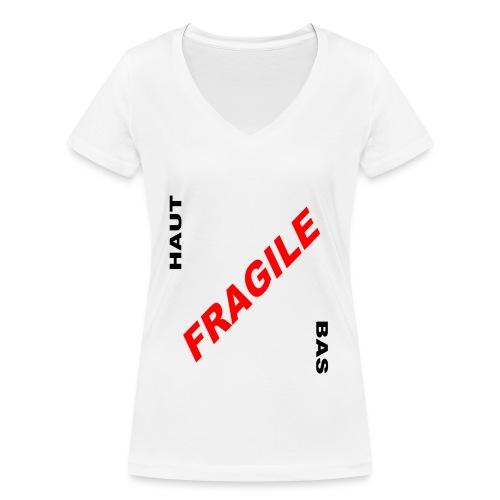 FRAGILE - T-shirt bio col V Stanley & Stella Femme