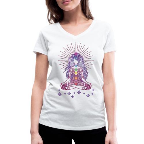 Boho Yoga Style Mädel Happy Mind Happy Life - Frauen Bio-T-Shirt mit V-Ausschnitt von Stanley & Stella