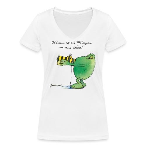 Janosch Frosch 'Küssen ist wie ...' - Frauen Bio-T-Shirt mit V-Ausschnitt von Stanley & Stella