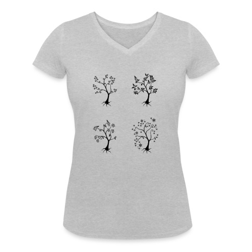 Vuodenajat - Stanley & Stellan naisten v-aukkoinen luomu-T-paita