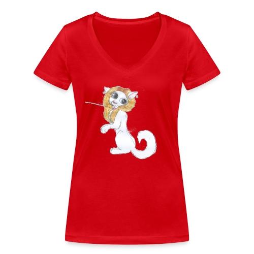 Comic Katze - Frauen Bio-T-Shirt mit V-Ausschnitt von Stanley & Stella
