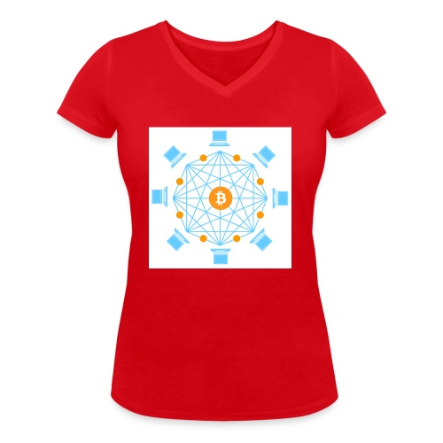 Blockchain - Stanley & Stellan naisten v-aukkoinen luomu-T-paita
