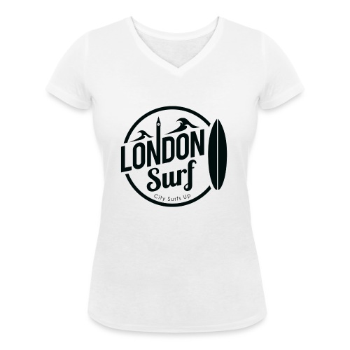 London Surf - Black - Women's Organic V-Neck T-Shirt by Stanley & Stella