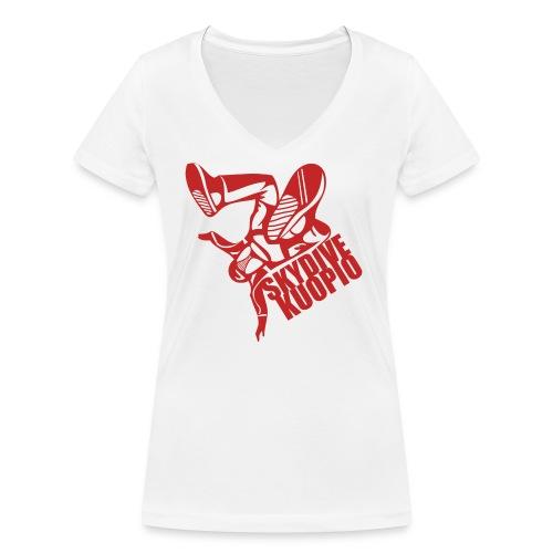 KLU logo red - Stanley & Stellan naisten v-aukkoinen luomu-T-paita