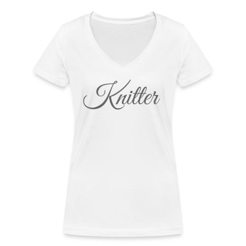 Knitter, dark gray - Women's Organic V-Neck T-Shirt by Stanley & Stella