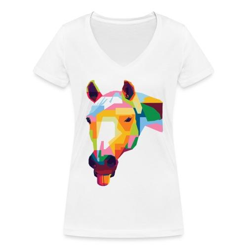 Pferde WPAP Design - Frauen Bio-T-Shirt mit V-Ausschnitt von Stanley & Stella