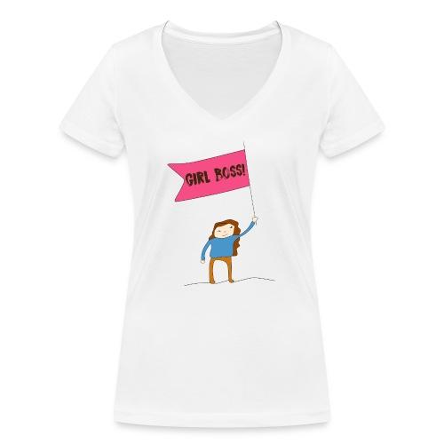 Gurl boss - Camiseta ecológica mujer con cuello de pico de Stanley & Stella