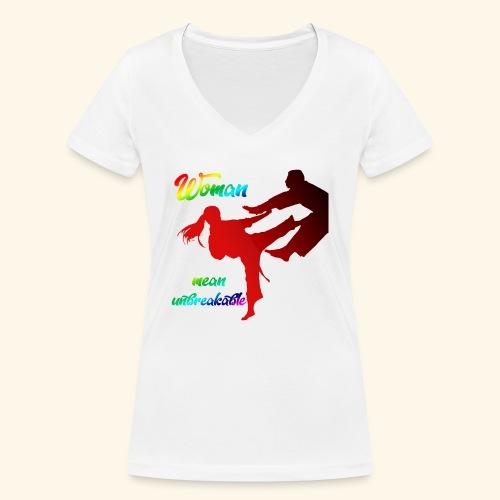 woman mean unbreakable - T-shirt ecologica da donna con scollo a V di Stanley & Stella