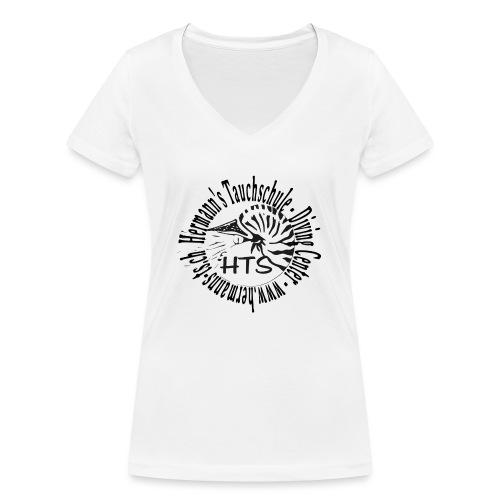 HTS Logo weiss - Frauen Bio-T-Shirt mit V-Ausschnitt von Stanley & Stella