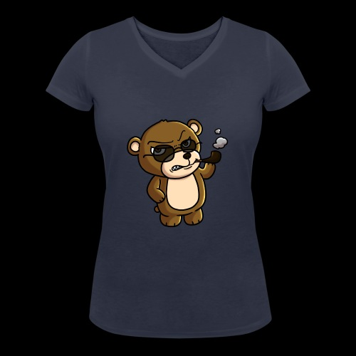 AngryTeddy - Women's Organic V-Neck T-Shirt by Stanley & Stella
