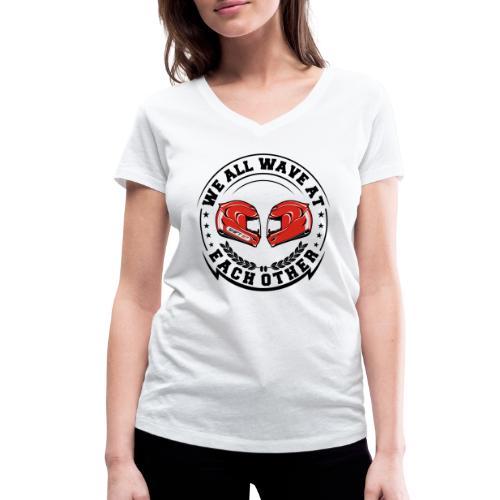 WE ALL WAVE - NOIR - T-shirt bio col V Stanley & Stella Femme