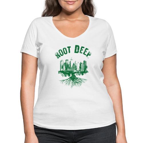 Root deep Urban grün - Frauen Bio-T-Shirt mit V-Ausschnitt von Stanley & Stella