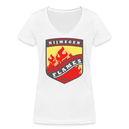 t-shirt kid-size zwart - Vrouwen bio T-shirt met V-hals van Stanley & Stella