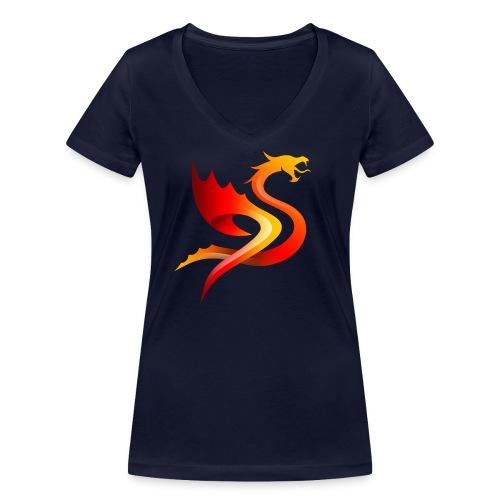 Slay Dragons - Stanley & Stellan naisten v-aukkoinen luomu-T-paita