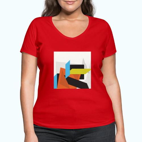 Vintage shapes abstract - Women's Organic V-Neck T-Shirt by Stanley & Stella