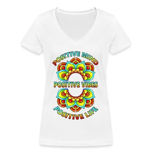 PosMindPosVibesPosLife2 png - Women's Organic V-Neck T-Shirt by Stanley & Stella