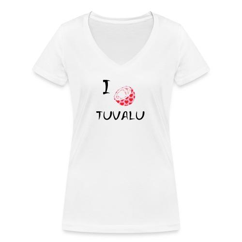 I Love Tuvalu - Women's Organic V-Neck T-Shirt by Stanley & Stella