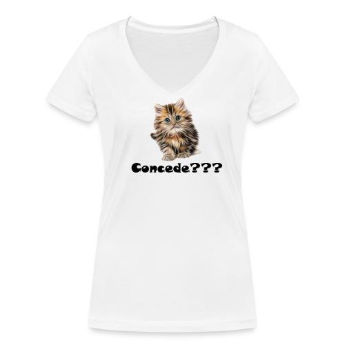 Concede kitty - Økologisk T-skjorte med V-hals for kvinner fra Stanley & Stella
