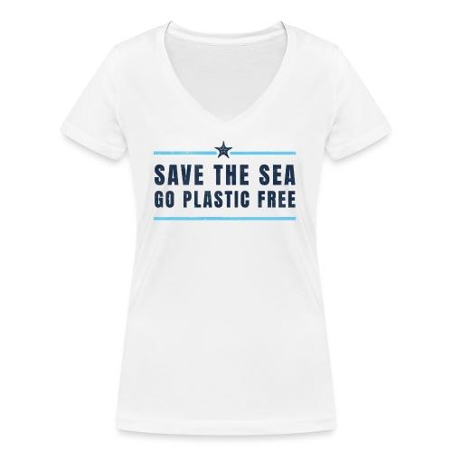 Defend the sea go plastic free Umweltschutz - Frauen Bio-T-Shirt mit V-Ausschnitt von Stanley & Stella