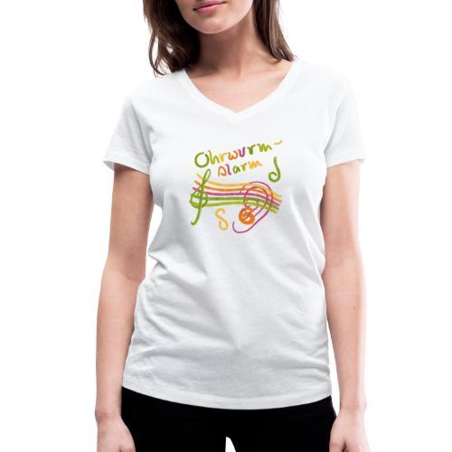 Ohrwurm Alarm Musiknoten und Würmer - Frauen Bio-T-Shirt mit V-Ausschnitt von Stanley & Stella