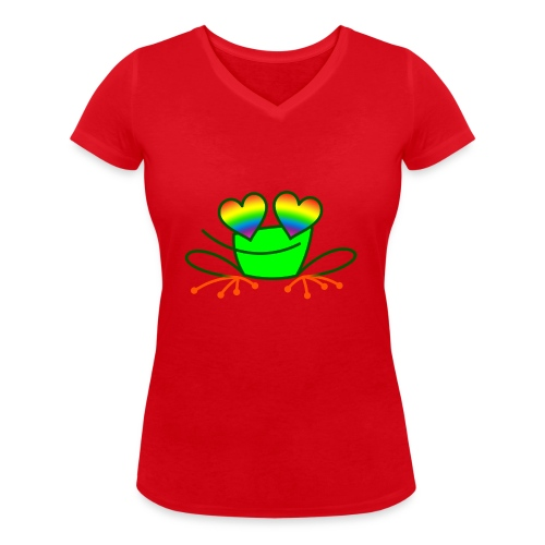 Pride Frog in Love - Women's Organic V-Neck T-Shirt by Stanley & Stella