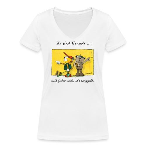 Janoschs 'Wir sind Freunde, weil jeder weiß ...' - Frauen Bio-T-Shirt mit V-Ausschnitt von Stanley & Stella