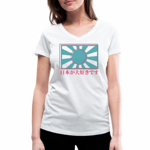 Rising sun I love Japan - Women's Organic V-Neck T-Shirt by Stanley & Stella