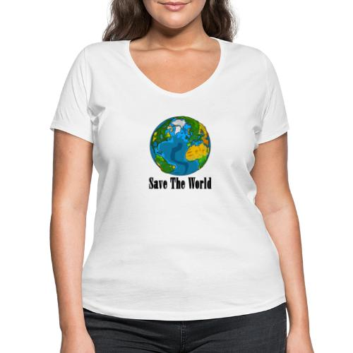 Save The World-Planet - Ekologisk T-shirt med V-ringning dam från Stanley & Stella