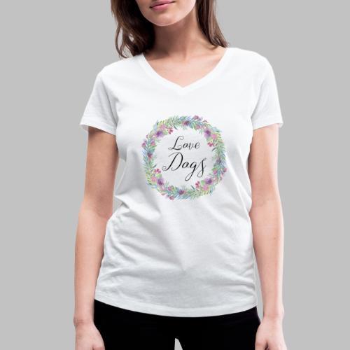Love Dogs - Blumenkranz - Frauen Bio-T-Shirt mit V-Ausschnitt von Stanley & Stella