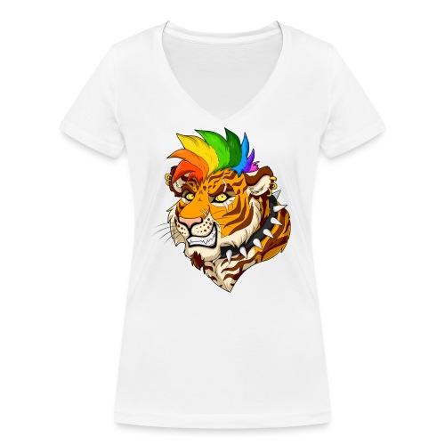 Punk Tiger - Ekologiczna koszulka damska z dekoltem w serek Stanley & Stella