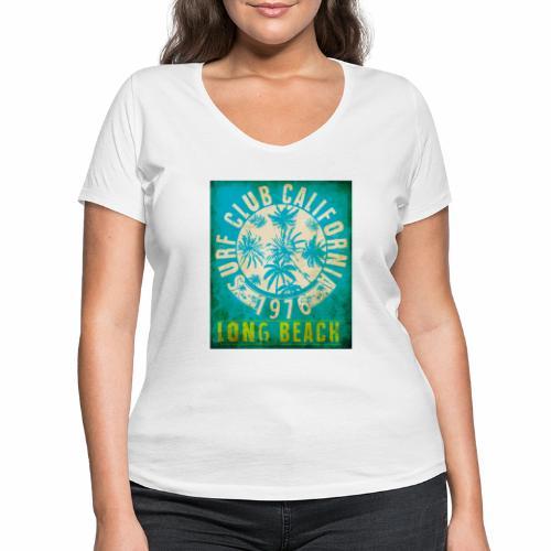Long Beach Surf Club California 1976 Gift Idea - Women's Organic V-Neck T-Shirt by Stanley & Stella