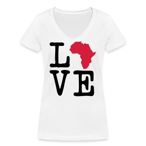 I Love Africa, I Heart Africa - Women's Organic V-Neck T-Shirt by Stanley & Stella