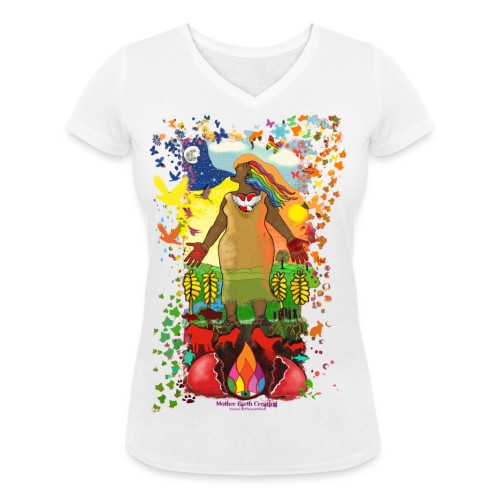 Mother Earth Creating - Vrouwen bio T-shirt met V-hals van Stanley & Stella