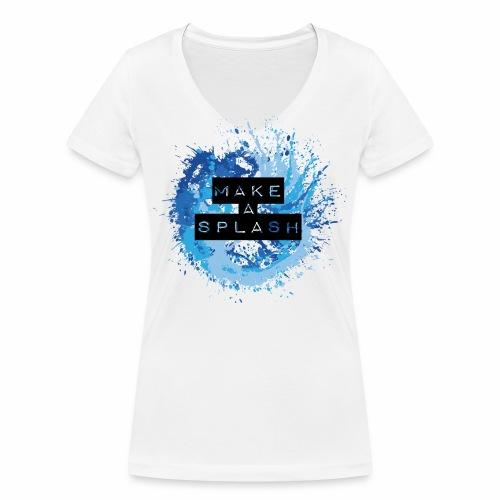 Make a Splash - Aquarell Design in Blau - Frauen Bio-T-Shirt mit V-Ausschnitt von Stanley & Stella