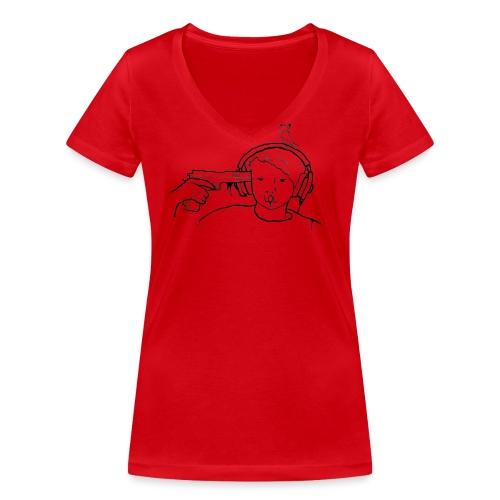 kys valkoinen - Stanley & Stellan naisten v-aukkoinen luomu-T-paita