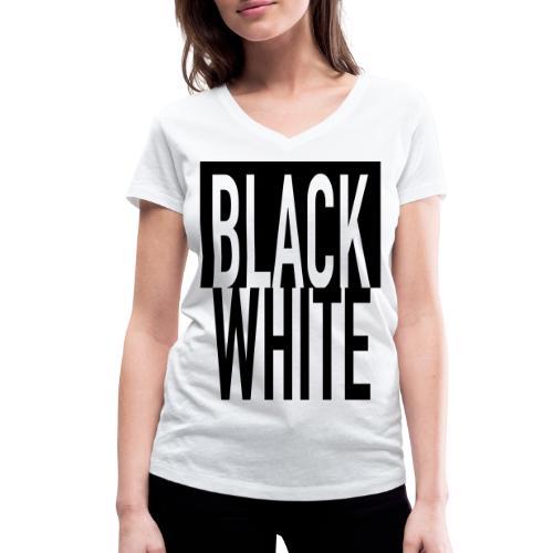 Black White - Frauen Bio-T-Shirt mit V-Ausschnitt von Stanley & Stella