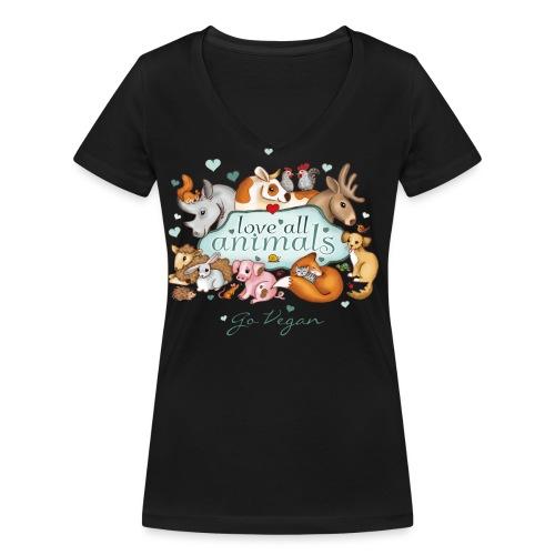 Love all animals door Maria Tiqwah - Vrouwen bio T-shirt met V-hals van Stanley & Stella
