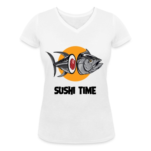 SUSHI TIME-tonno-n - T-shirt ecologica da donna con scollo a V di Stanley & Stella