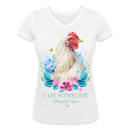 Hen met bloemen - Vrouwen bio T-shirt met V-hals van Stanley & Stella