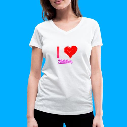 I Heart Potato T-Shirts - Women's Organic V-Neck T-Shirt by Stanley & Stella
