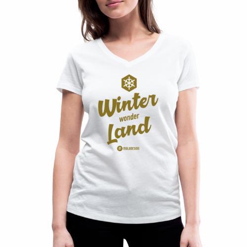 Winter Wonder Land - Stanley & Stellan naisten v-aukkoinen luomu-T-paita
