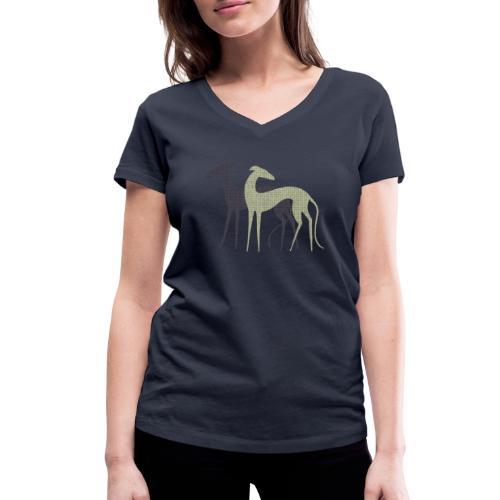 Zwei Windhunde - Frauen Bio-T-Shirt mit V-Ausschnitt von Stanley & Stella