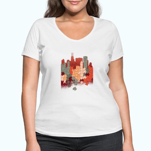Puzzle fan - Women's Organic V-Neck T-Shirt by Stanley & Stella