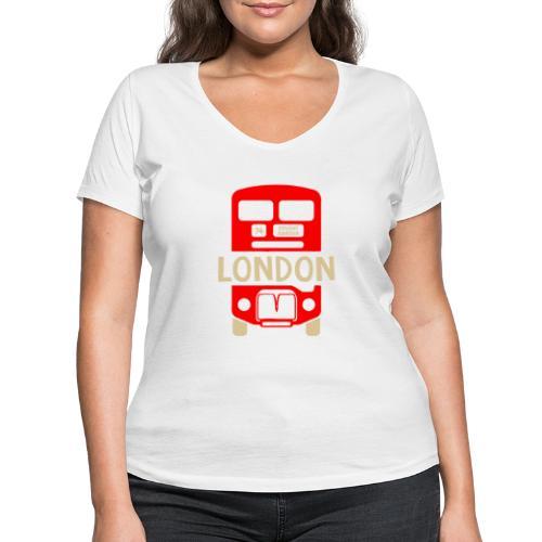 London Bus Roter Doppeldecker London Fan Souvenir - Frauen Bio-T-Shirt mit V-Ausschnitt von Stanley & Stella