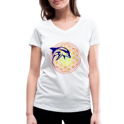 fleur de vie dauphin - T-shirt bio col V Stanley & Stella Femme