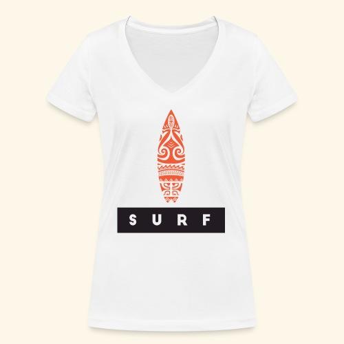 Surfing Hero by Te-Moana - Frauen Bio-T-Shirt mit V-Ausschnitt von Stanley & Stella