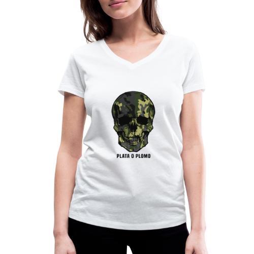 Colombian skull - plata o plomo - Frauen Bio-T-Shirt mit V-Ausschnitt von Stanley & Stella
