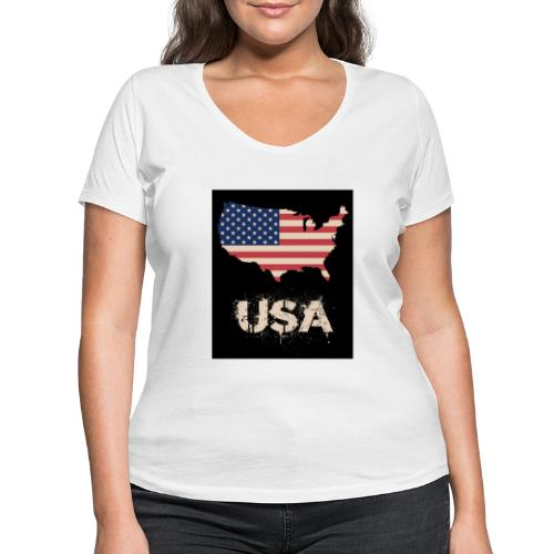 USA FLAG 4th of July With Flag - Ekologisk T-shirt med V-ringning dam från Stanley & Stella